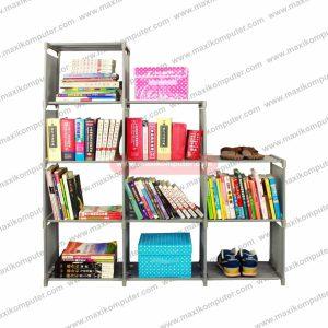 Rak Buku Portable 3 Sisi Lemari Serbaguna 9 Ruang